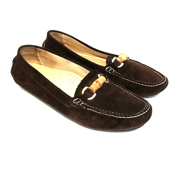 eb1653454f0 Patricia Green Brown Suede Loafers Size 38